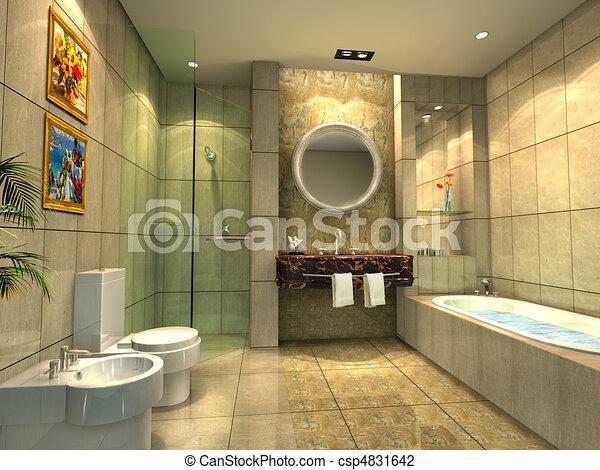 Tercera interpretación del baño moderno - csp4831642
