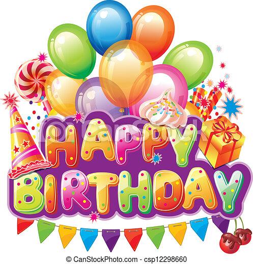 Feliz texto de cumpleaños con elemento de fiesta - csp12298660