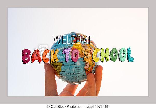 theme., cartel, diseño, bienvenida, espalda, escuela, banner., educación - csp84075466