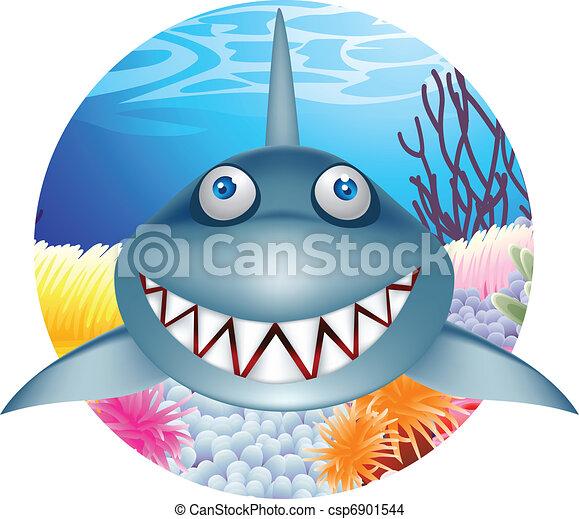 Personaje de dibujos de tiburones - csp6901544
