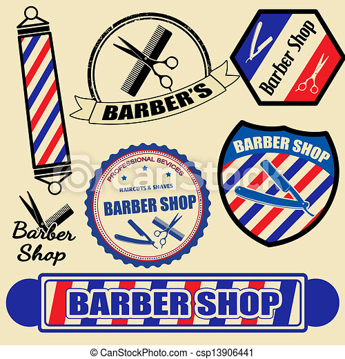 Un conjunto de etiquetas y sellos de barbería - csp13906441