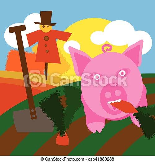 La ilustración de fondo del campo con campos de tierra cultivados - csp41880288