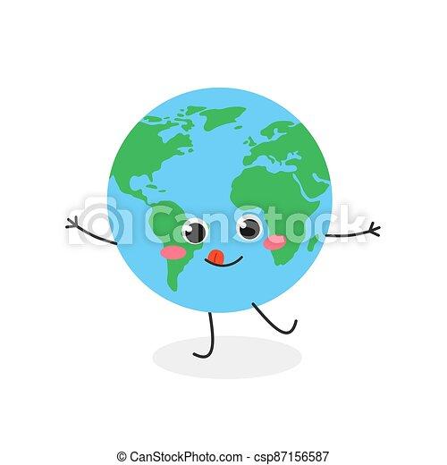 tierra, vector, divertido, ilustración, caricatura, planeta, carácter - csp87156587