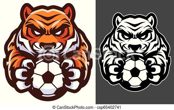 La mascota del fútbol del tigre - csp65402741