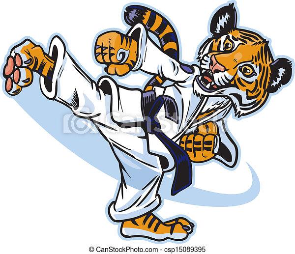 Un tigre artista marcial pateando - csp15089395