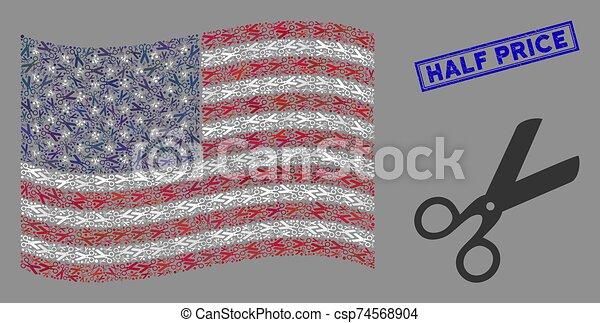 tijeras, estados unidos de américa, mitad, estampilla, stylization, bandera, textured, precio - csp74568904