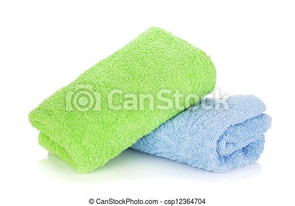 Toallas azules y verdes - csp12364704