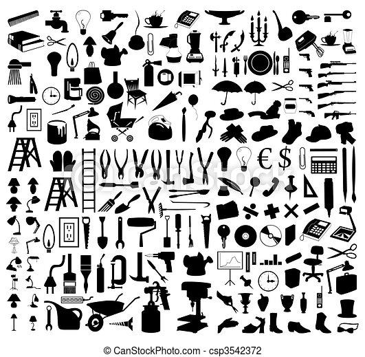 Siluetas de varios temas y herramientas. Una ilustración del vector - csp3542372