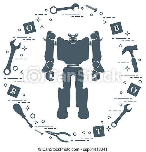 Robot, cubos, destornillador, llave, tornillo, martillo. - csp64413041