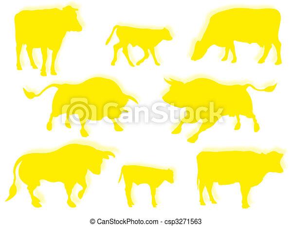 Vaca, toro, y ternera en silueta - csp3271563