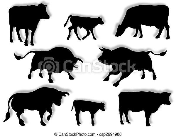 Vaca, toro, y ternera en silueta - csp2694988