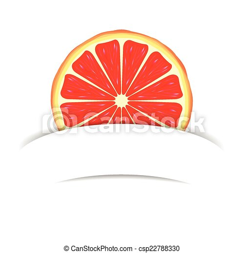 Grapefruit con pancarta de papel - csp22788330