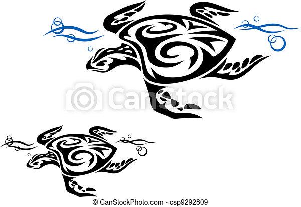 Tortuga en agua del océano - csp9292809