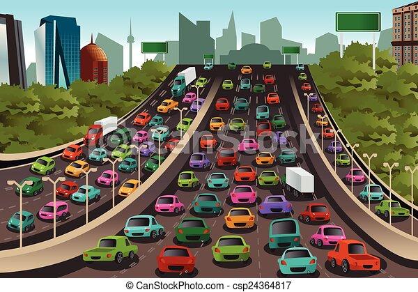 Tráfico en una autopista - csp24364817
