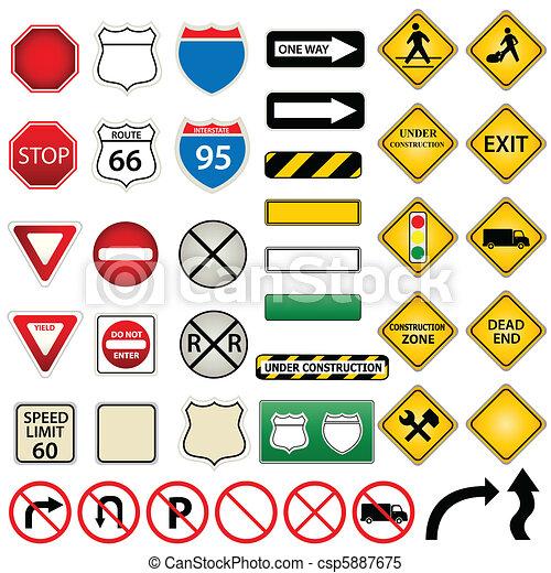 Ruta y señales de tráfico - csp5887675