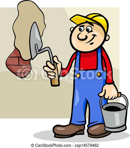 Trabajador con ilustración de dibujos animados - csp14579462