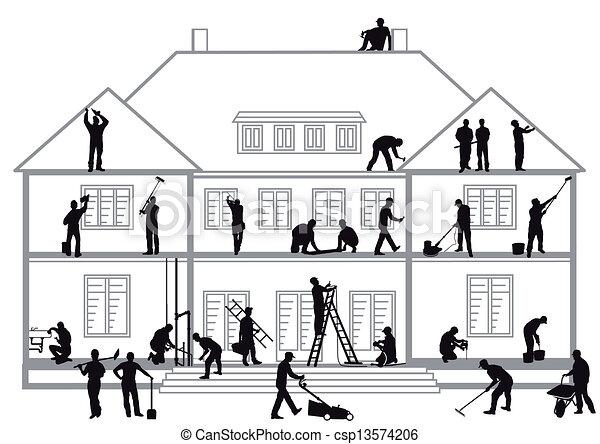 Trabajadores de construcción - csp13574206
