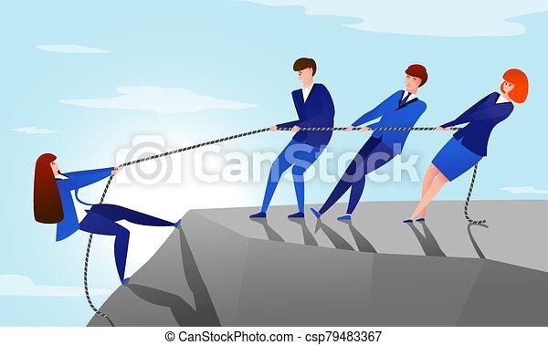trabajadores, porción, concepto, oficina, colegas, colleague., montaña, alcance, caricatura, ilustración, rope., éxito, cima, su, tirón, vector, trabajo en equipo - csp79483367