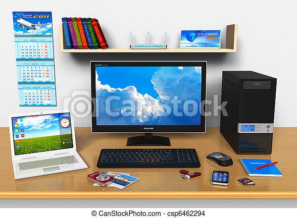 Trabajo de oficina con computadora portátil y otros dispositivos - csp6462294