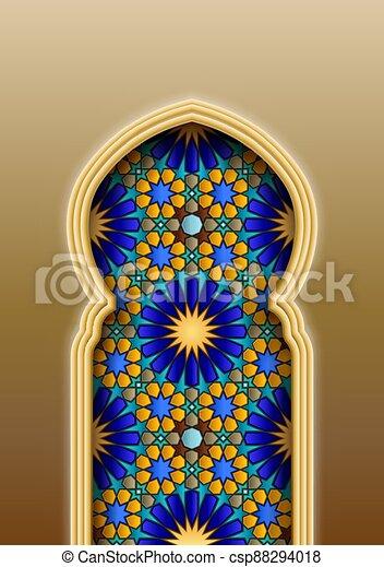 tradicional, árabe, islámico, patrón, arco - csp88294018
