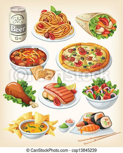 Un conjunto de iconos tradicionales de comida. - csp13845239