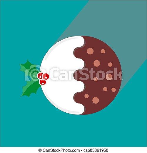 tradicional, berrys, verde, navidad, rojo, vector, ilustración, acebo, pudín, plano, plano de fondo, - - csp85861958