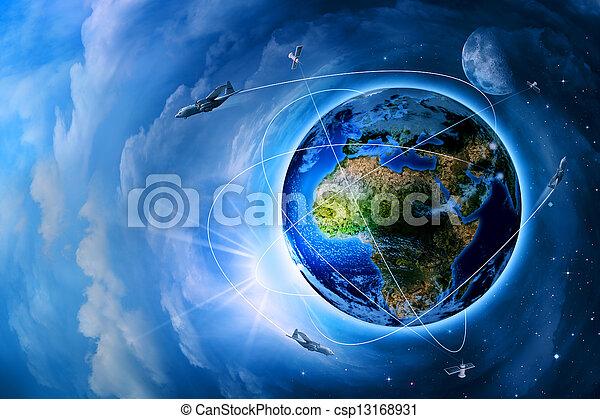 Transporte espacial y tecnologías en el futuro, antecedentes abstractos - csp13168931