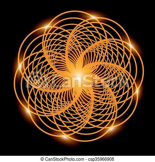 Trasfondo abstracto. Flor fractal dorada con luces. Ilustración de vectores - csp35966908