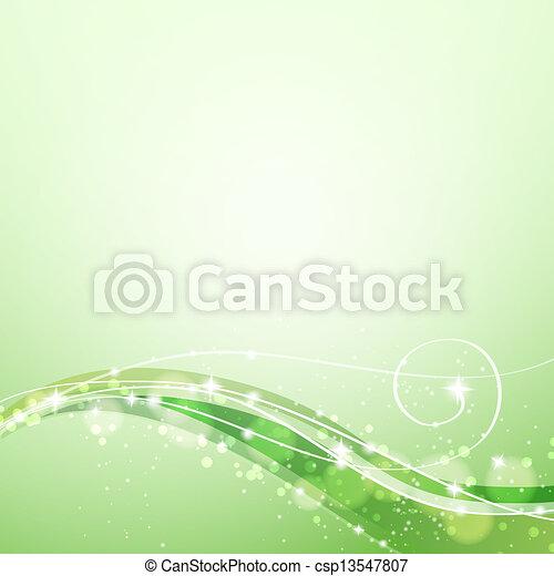 Trasfondo verde abstracto con líneas y destellos - csp13547807