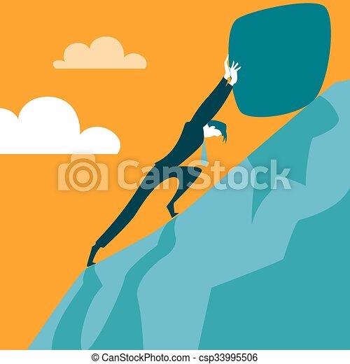 Tratando de tirar de la piedra por la colina - csp33995506