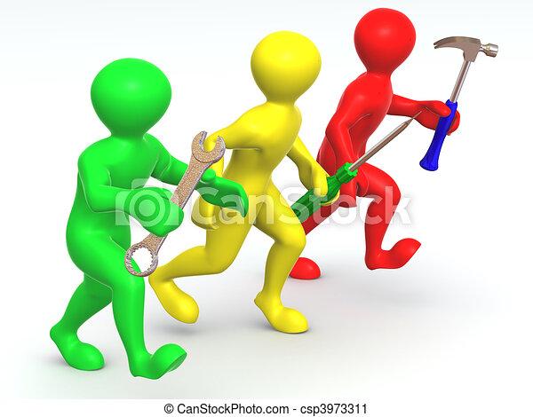 Tres hombres con herramientas. Mantenimiento - csp3973311