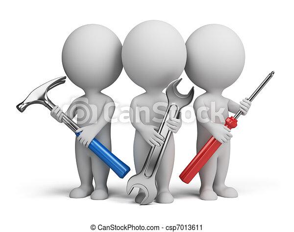 Tres pequeñas personas, reparadores - csp7013611