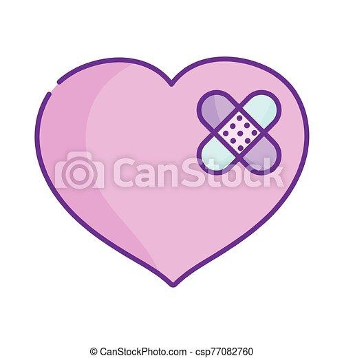 triste, día, primero, corazón, vendas, ayuda, amor, feliz, valentines, lindo - csp77082760