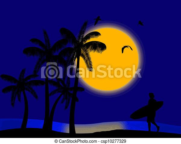 Sunset en el paraíso tropical - csp10277329