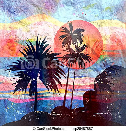 Paisajes tropicales con palmeras - csp28487887