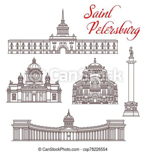 turismo, landmarks., santo, viaje, petersburg, ruso - csp78226554