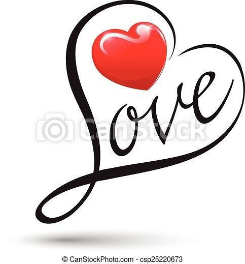 Amor con mecanografía del corazón. - csp25220673