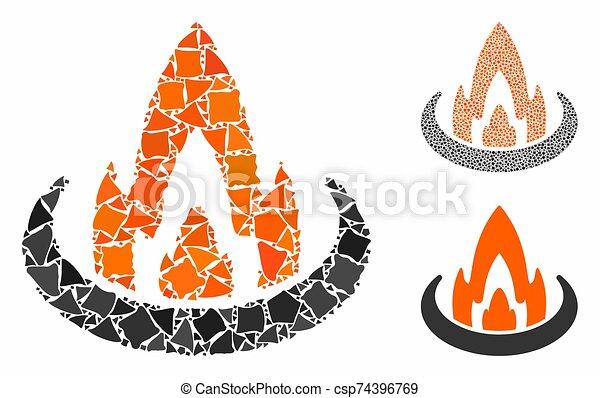 ubicación, mosaico, fuego, áspero, pedazos, icono - csp74396769