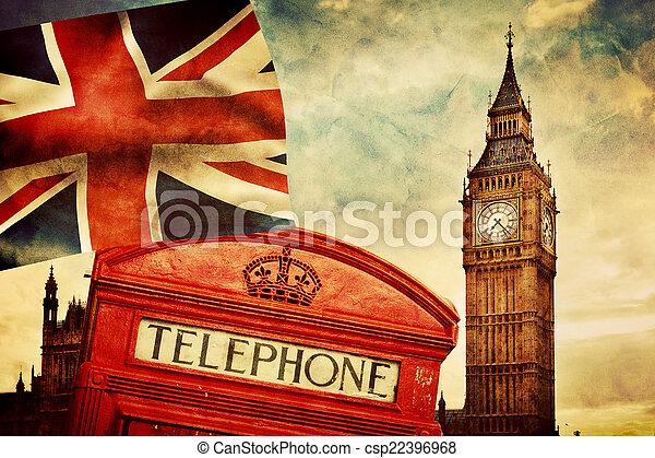 Símbolos de Londres, Inglaterra, el Reino Unido. Cabina roja, Big Ben, la bandera del sindicato - csp22396968