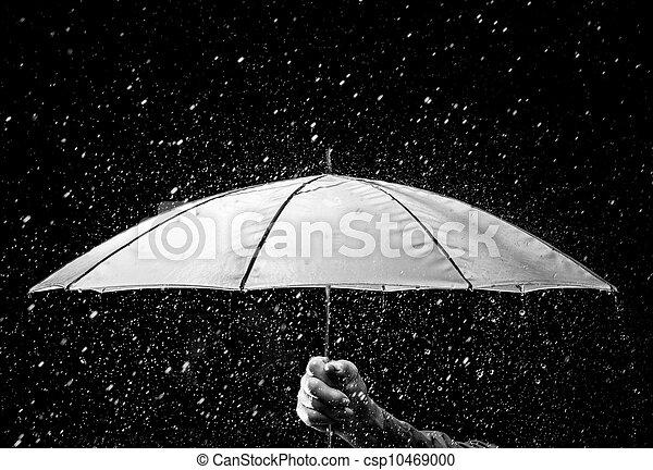 Umbrella bajo gotas de lluvia en blanco y negro - csp10469000