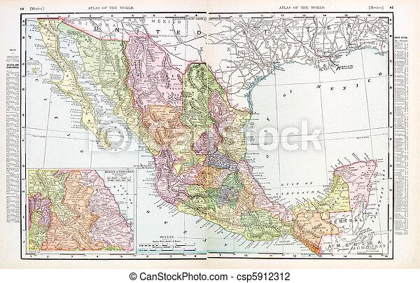 Un antiguo mapa inglés de color antiguo de México - csp5912312