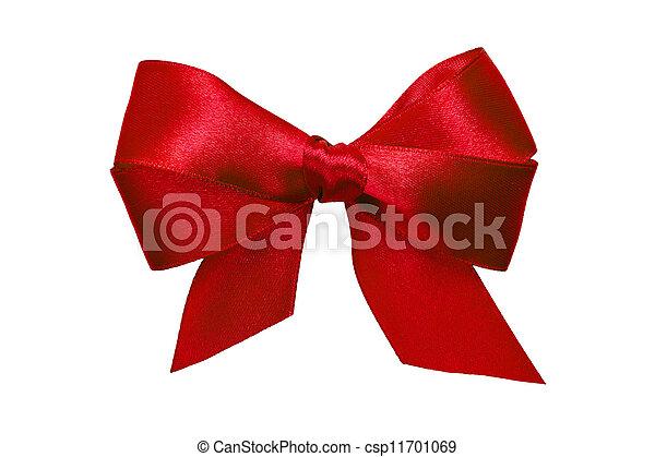 Un arco rojo con colas de cinta - csp11701069