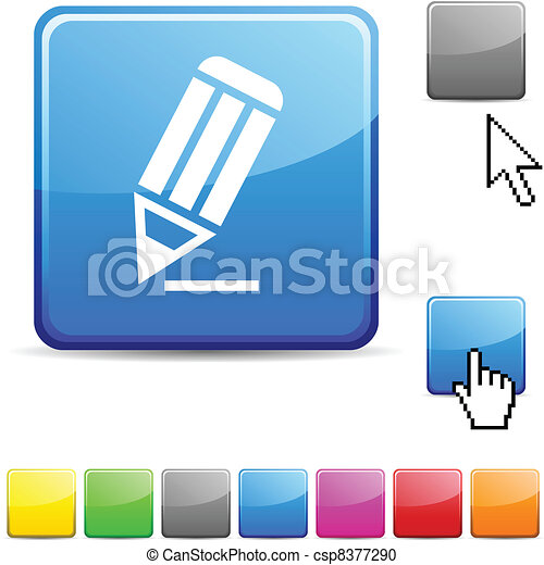 Un botón brillante. - csp8377290