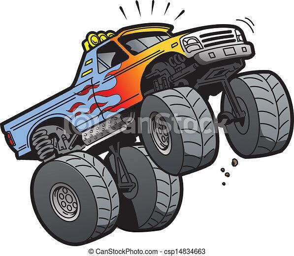 Un camión de monstruos saltando - csp14834663
