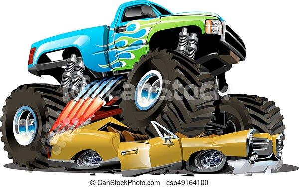 Un camión monstruo de dibujos animados - csp49164100