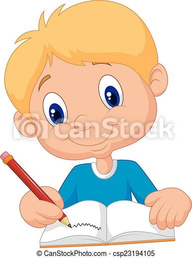 Un chico feliz escribiendo en un libro - csp23194105