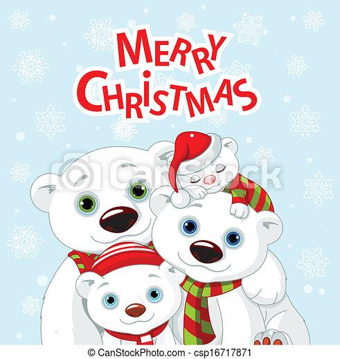 Un coche de bienvenida de la familia de osos de Navidad - csp16717871