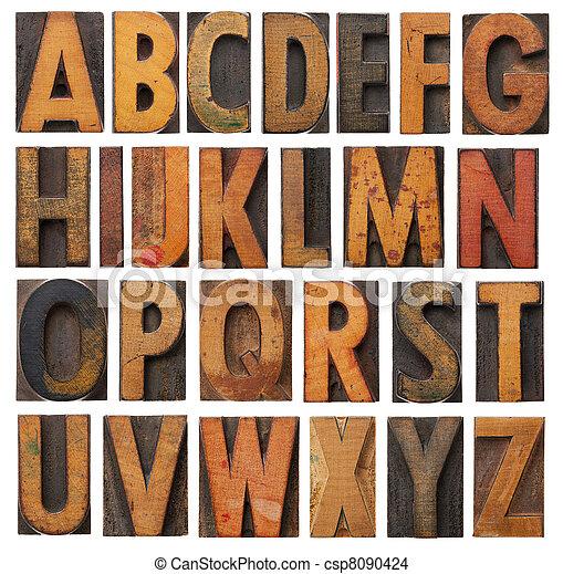 Un conjunto antiguo de alfabeto de madera - csp8090424