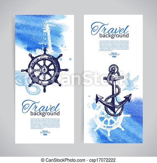 Un conjunto de banderas de viaje. Diseño náutico marino. Dibujo a mano y ilustraciones acuarelas - csp17072222
