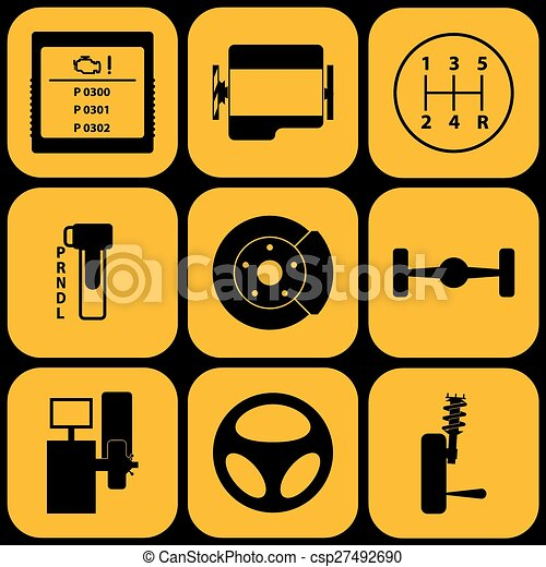 Un conjunto de iconos automotivos - csp27492690
